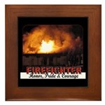 Personalized firefighter decorative ceramic tile in its own stylish Cherrywood frame � the perfect way to complete a decorative gift or keepsake. Rounded edges and quality construction make this Framed Tile the ultimate wall accent! Gifts for EMT's, firefighters and police available!