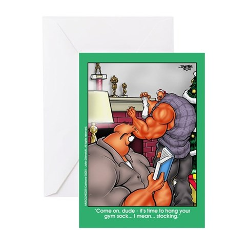Gym Sock - Xmas Cards Pk of 10 Bodybuilding Greeting Cards Pk of 10 by CafePress