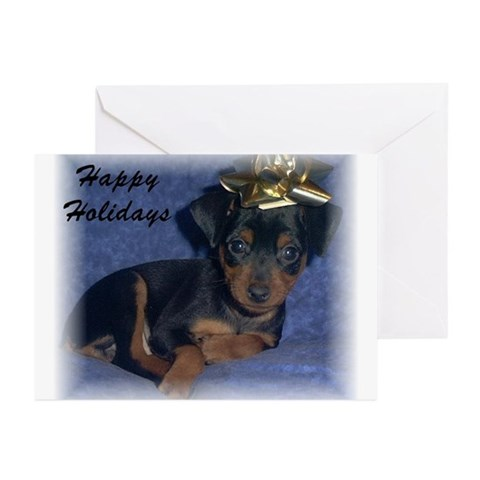 Min Pin Christmas Cards Pk of 10 Christmas Greeting Cards Pk of 10 by CafePress