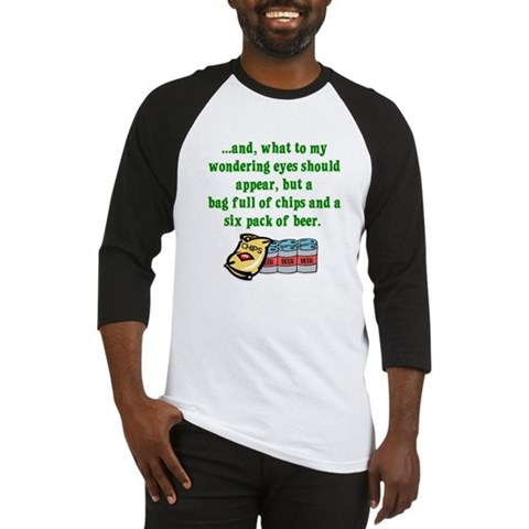 Christmas Poem for Men Funny Baseball Jersey by CafePress
