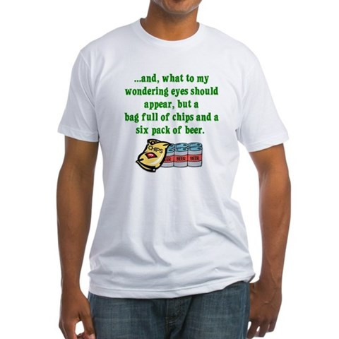 Christmas Poem for Men Funny Fitted T-Shirt by CafePress