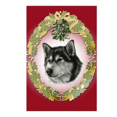 Alaskan Malamute Christmas Postcards Package of 8 Pets Postcards Package of 8 by CafePress