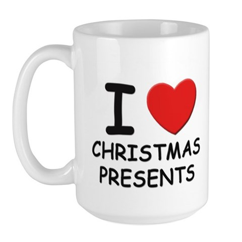 I love christmas presents Christmas Large Mug by CafePress