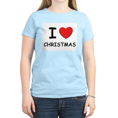 I love christmas Women's Pink T-Shirt Christmas Women's Light T-Shirt by CafePress