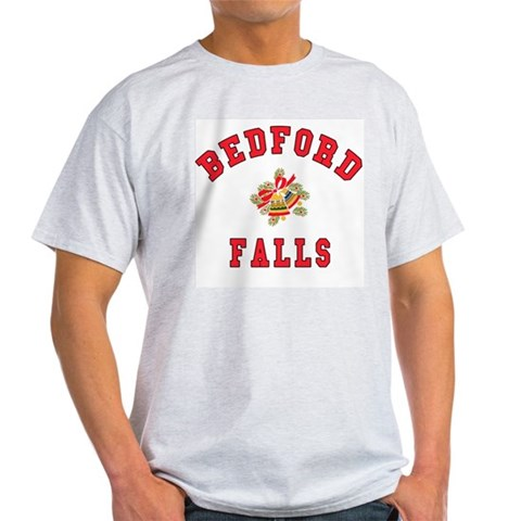 Bedford Falls w Christmas Bells Ash Grey T-Shirt Movie Light T-Shirt by CafePress