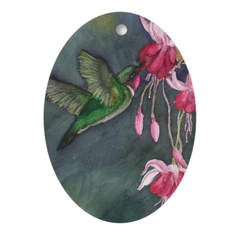 Hummingbird  Art Oval Ornament by CafePress
