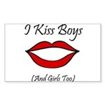 I Kiss Boys (and girls too) Sticker (Rectangular)