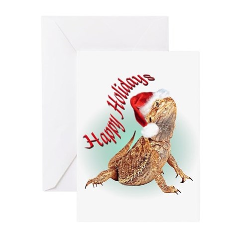 Bearded Dragon Santa Pets Greeting Cards Pk of 10 by CafePress