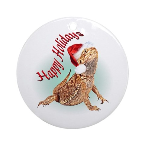 Bearded Dragon Santa Ornament Round Pets Round Ornament by CafePress