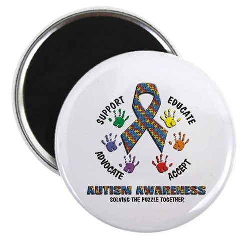 Solving The Puzzle Together Round Autism Awareness Magnet