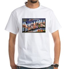 Pensacola Florida Greetings (Front) White T-Shirt