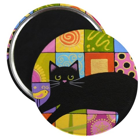 Black CAT On ART Quilt Folk Art Art Magnet by CafePress
