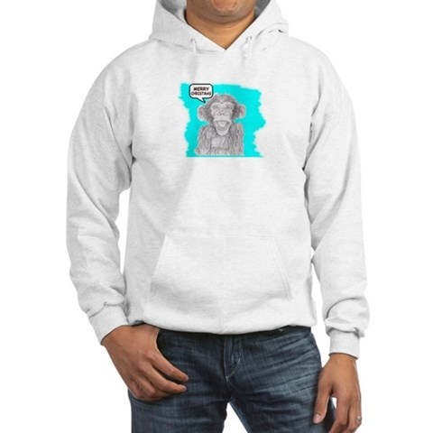 MERRY CHRISTMAS MONKEY ART Kids Hooded Sweatshirt by CafePress
