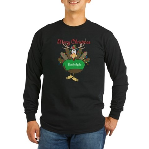 Turkey dressed as a raindeer Long Sleeve Dark T-Sh Christmas Long Sleeve Dark T-Shirt by CafePress