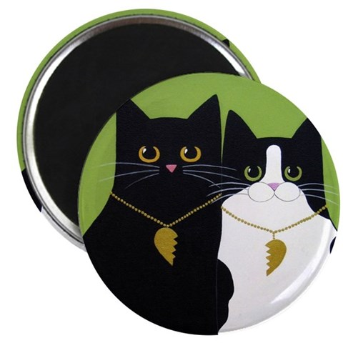 Black Tuxedo CATS In Love ART Pets Magnet by CafePress