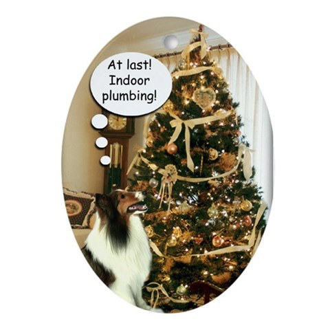 Sheltie Xmas Fun Ornament Funny Oval Ornament by CafePress