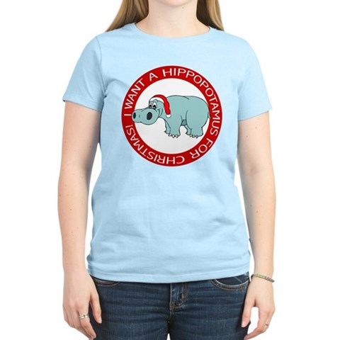 Christmas Hippo Women's Pink T-Shirt Christmas Women's Light T-Shirt by CafePress