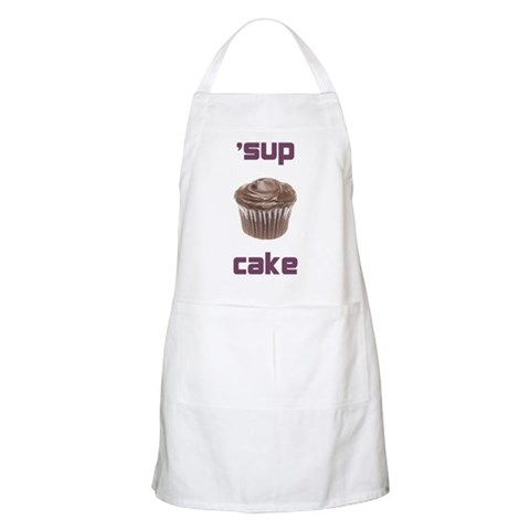 'sup cake baking apron Humor Apron by CafePress