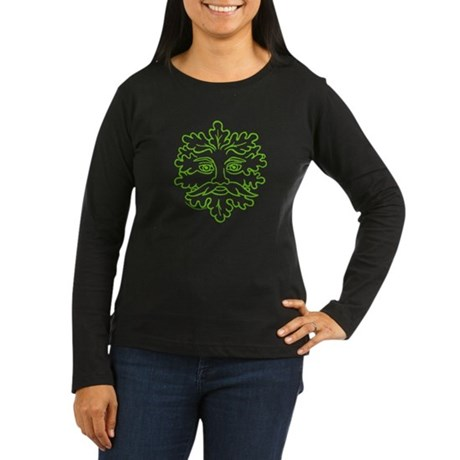 Weathered GreenMan Women's Long Sleeve Dark T-Shirt