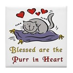 Purr in Heart Tile Coaster