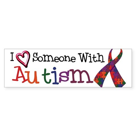 I Love Someone With Autism w/Ribbon sticker