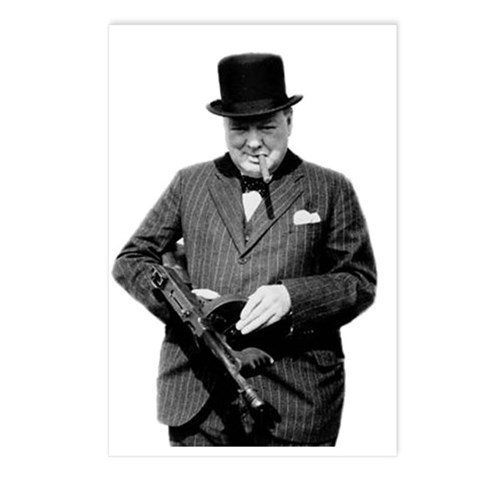 Churchill's Tommy Gun Postcards Package Gun Postcards Package of 8 by CafePress