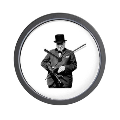 Churchill's Tommy Gun Gun Wall Clock by CafePress