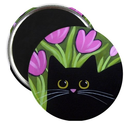 Black CAT Pink Tulips ART Art Magnet by CafePress