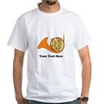 French Horn Personalized White T-Shirt