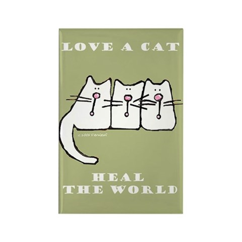 Love a Cat, Heal the World Rectangle Magnet-10 pk Funny Rectangle Magnet 10 pack by CafePress