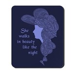 She Walks in Beauty - Wild Haired Victorian Lady Mousepad - Lavender/Blue on Navy Background