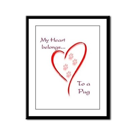Pug Heart Belongs Framed Panel Print