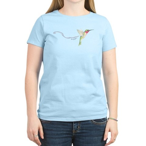 hummingbird Women's Pink T-Shirt Art Women's Light T-Shirt by CafePress