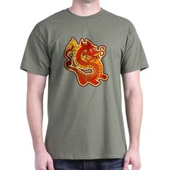 Red Chinese Dragon Military Green T-Shirt by Koncepts by Karyn