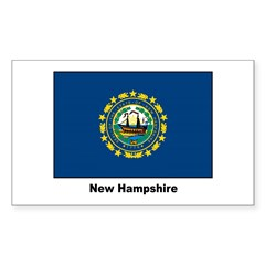 New Hampshire State Flag Sticker (Rectangular)